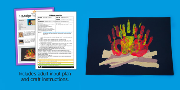 Handprint Bonfire EYFS Adult Input Plan and Craft Pack - handprint, bonfire, eys, craft, input plan