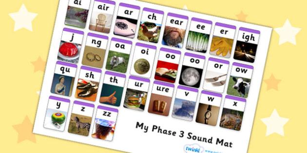 Phase 3 Photo Sound Mat - phase 3, phase three, photo sound mat, photo, sound mat, sounds, photo mat, phase 3 mat, phase 3 photos, picture mat, mat