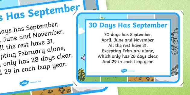 30 Days Has September Nursery Rhyme Poster - 30 days has september, nursery rhyme, poster, display