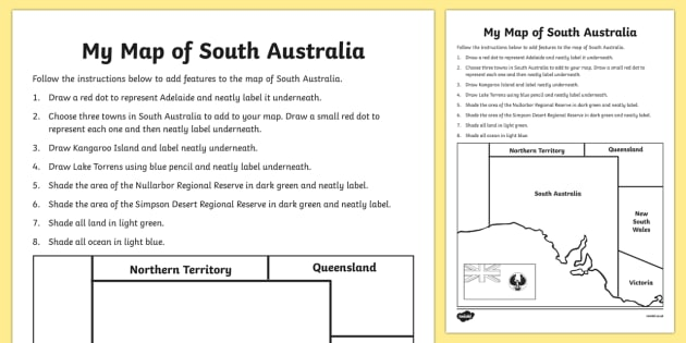 My Map of South Australia Activity Sheet - australia, Geography, map, mapping, South Australia, Adelaide, shading, labelling, states, territories, Australia, worksheet