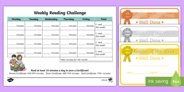 Reading Challenge Weekly Calendar - reading challenge, reading, read, challenge, weekly, calendar