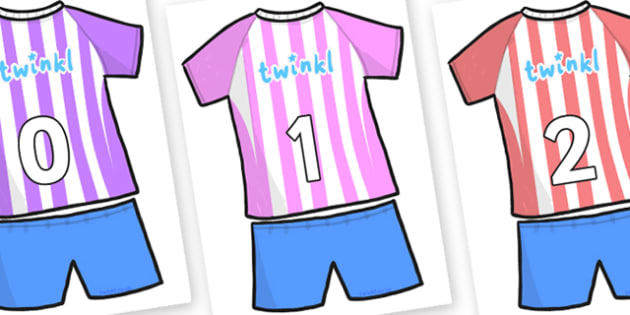 Numbers 0-31 on Football Strip - 0-31, foundation stage numeracy, Number recognition, Number flashcards, counting, number frieze, Display numbers, number posters