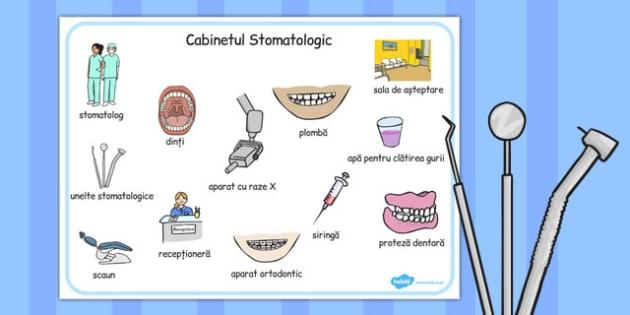 La dentist - Planșă cu imagini și cuvinte