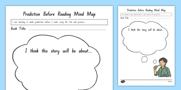 Prediction Before Reading Mind Map Activity Sheet, worksheet