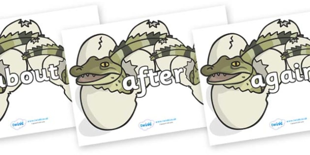 KS1 Keywords on Hatching Aligators - KS1, CLL, Communication language and literacy, Display, Key words, high frequency words, foundation stage literacy, DfES Letters and Sounds, Letters and Sounds, spelling