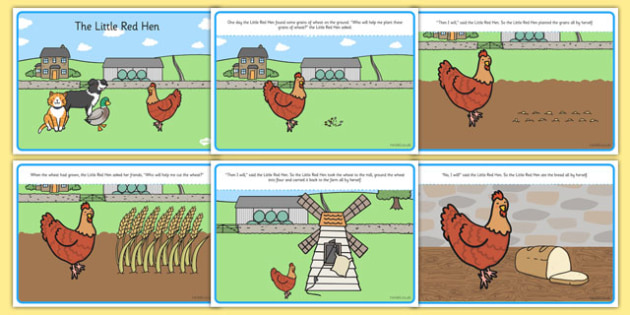 Little Red Hen Story -  Little Red Hen, Traditional tales, tale, fairy tale, little red hen, cat, dog, horse, grain, wheat, flour, bread, no I, I will