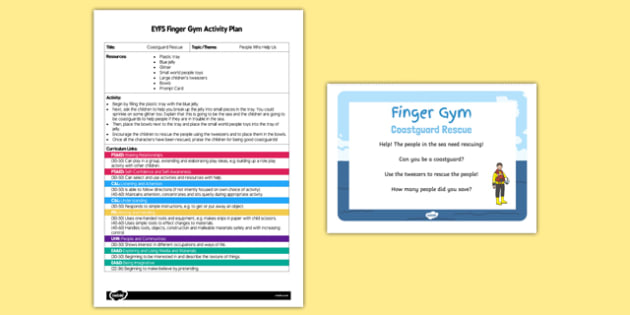EYFS Coastguard Rescue Finger Gym Plan and Prompt Card Pack