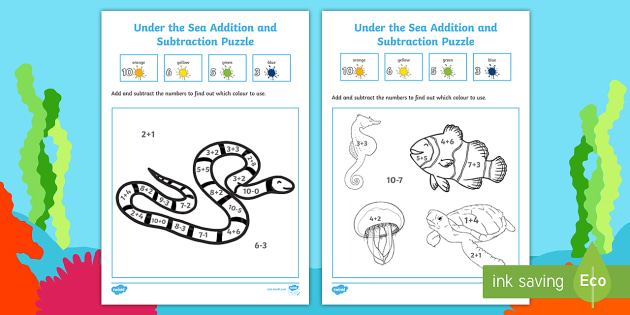 Under the Sea Themed Addition and Subtraction Puzzle 0-10 - under the sea, under the sea numeracy puzzle, under the addition, under the sea subtraction