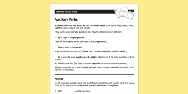 KS3 English Curriculum Auxiliary Verbs Activity Sheet - ks3, english, curriculum, activity sheet, auxiliary verbs, grammar, worksheet