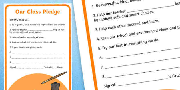 Class Pledge Display Poster