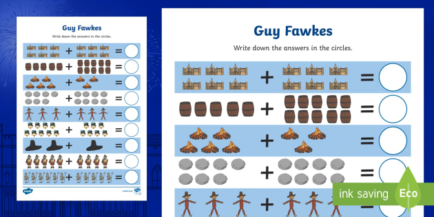 Guy Fawkes Themed Up to 20 Addition Sheet