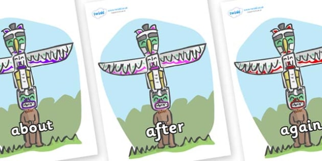 KS1 Keywords on Totem Poles - KS1, CLL, Communication language and literacy, Display, Key words, high frequency words, foundation stage literacy, DfES Letters and Sounds, Letters and Sounds, spelling