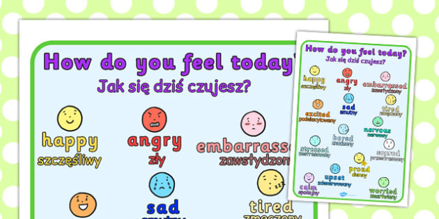 How Do You Feel Today? Emotions Chart Polish Translation - polish