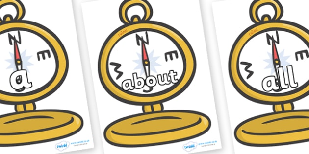 100 High Frequency Words on Pocket Watches - High frequency words, hfw, DfES Letters and Sounds, Letters and Sounds, display words