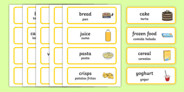 Supermarket Word Cards Spanish Translation-translation