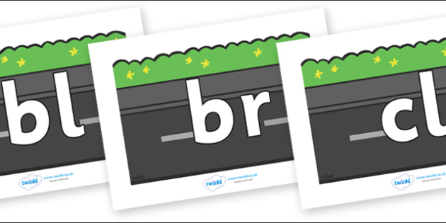 Initial Letter Blends on Roads (Plain) - Initial Letters, initial letter, letter blend, letter blends, consonant, consonants, digraph, trigraph, literacy, alphabet, letters, foundation stage literacy