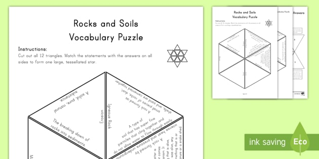 Rocks and Soils Review Vocabulary Puzzle - Science Vocabulary Puzzles, rocks, sedimentary, igneous, weathering, organic, erosion, mineral, magm