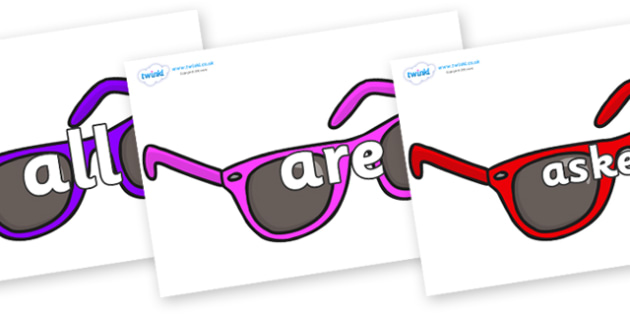 Tricky Words on Sunglasses - Tricky words, DfES Letters and Sounds, Letters and sounds, display, words