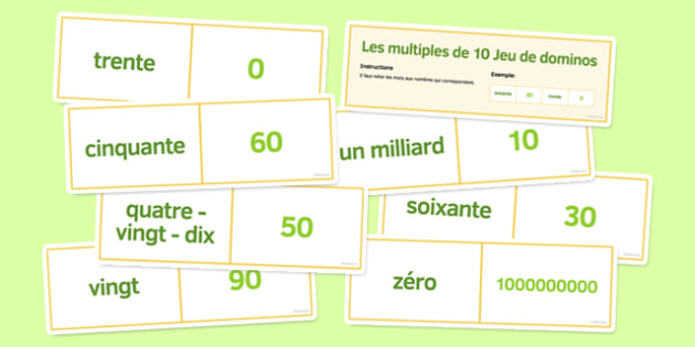 Les multiples de 10 Jeu de dominos - french, multiples, 10, dominoes, multiples of 10