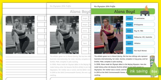 Australian Rio Olympian Alana Boyd Handwriting Practice Activity Sheet-Australia, worksheet