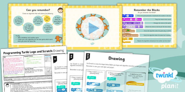 PlanIt - Computing Year 3 - Programming Turtle logo and Scratch Lesson 4: Drawing Lesson Pack