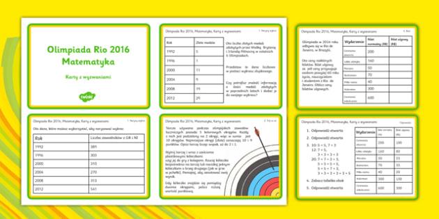 Karty z wyzwaniami matematycznymi Rio 2016 po polsku