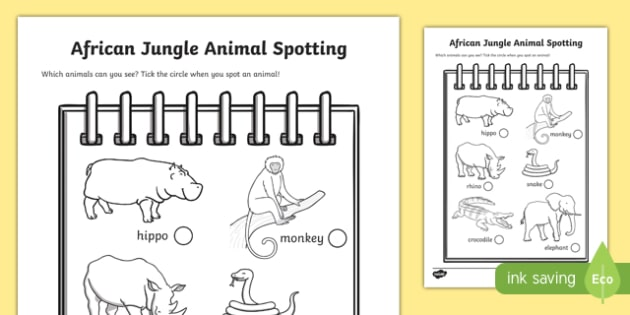African Jungle Explorers Role Play Animal Spotting Form