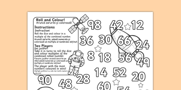 Space Themed Multiplication Roll and Colour Two Dice Romanian Translation - romanian,
