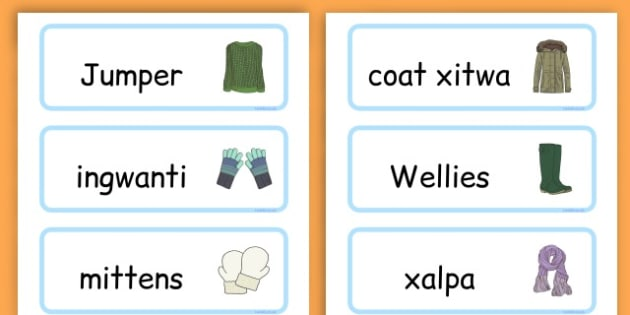 Winter Clothes Word Cards - winter clothes, word cards, winter, clothes - Maltese