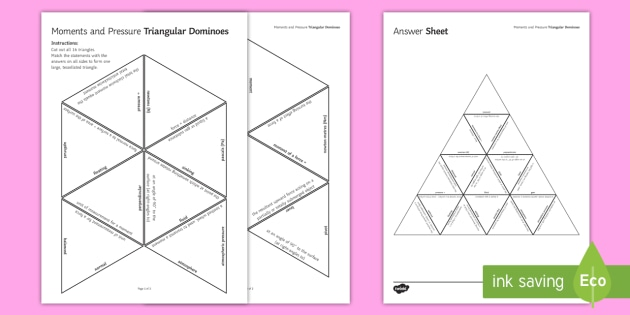 Moments and Pressure Tarsia Triangular Dominoes  - Tarsia, gcse, physics, moment, moments, force, forces, pressure, atmospheric pressure, sinking, floa