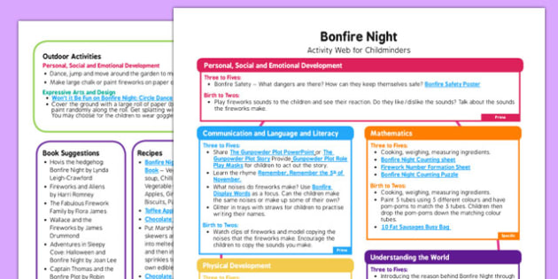 Bonfire Night Activity Web for Childminders  - bonfire night, activity, web, childminders