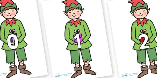 Numbers 0-31 on Elf (Plain) - 0-31, foundation stage numeracy, Number recognition, Number flashcards, counting, number frieze, Display numbers, number posters
