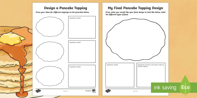 Designing a Pancake Topping Activity Sheet - pancake, activity, worksheet