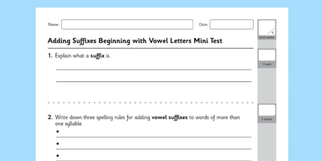 Adding Suffixes Beginning with Vowels Mini Test - GPS, grammar, spelling, punctuation, root word