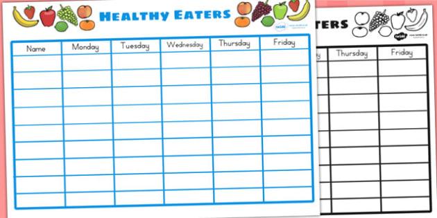 Healthy Eating Class Chart - food, health, classroom display