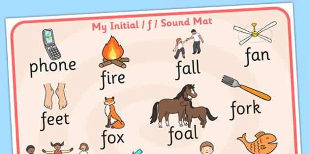 Initial f Sound Mat - initial, sound, sounds, sound mat, f sound