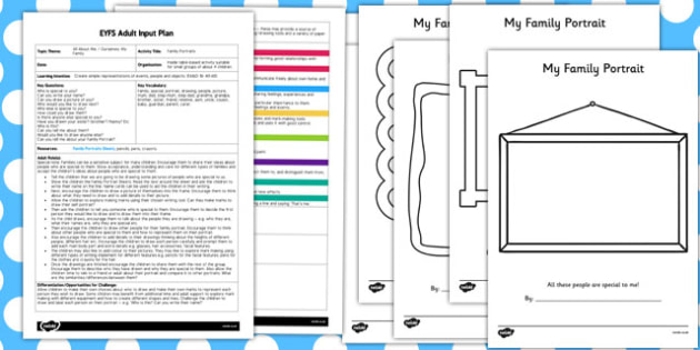Family Portrait Activity EYFS Adult Input Plan and Resource Pack
