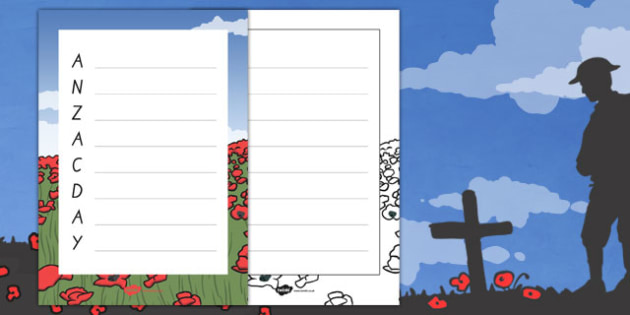 New Zealand Anzac Day Acrostic Poem Template - nz, new zealand, anzac day, acrostic, poem, template