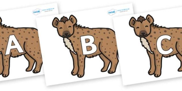 A-Z Alphabet on Hyenas - A-Z, A4, display, Alphabet frieze, Display letters, Letter posters, A-Z letters, Alphabet flashcards