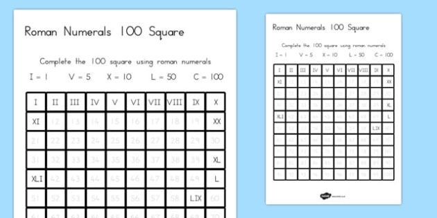 Roman Numerals Fill in the Number Square Worksheet - australia