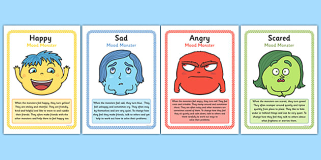 Mood Monsters Poster Set - mood monsters, poster, set, display, inside out, emotions, feelings posters