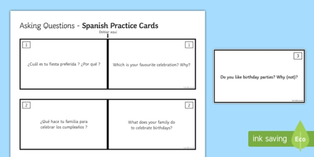 General Conversation Customs & Festivals Question Double Sided Cards Spanish English