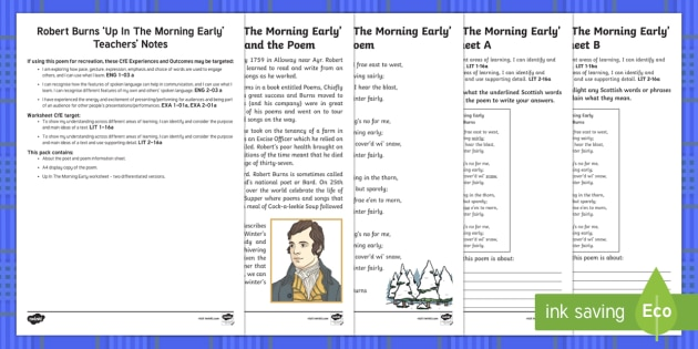 Scots Poetry - Robert Burns: Up In The Morning Early - cfe, curriculum for excellence, scots