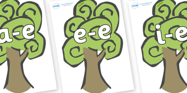 Modifying E Letters on Trees - Modifying E, letters, modify, Phase 5, Phase five, alternative spellings for phonemes, DfES letters and Sounds