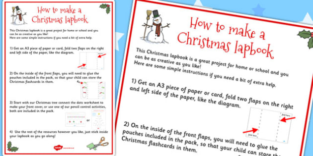 Christmas Lapbook Instructions Sheet - lapbooks, instructions