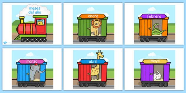 Tren de los meses del año en DIN A4 - año, calendario, decoración, enero, febrero, marzo, abril, mayo, junio, julio, agosto, septiembre, setiembre, octubre, noviembre, diciembre
