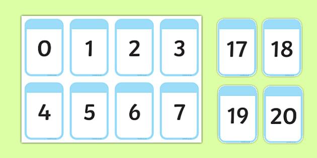 Number Cards 0-20 - number cards, 0-20, numbers, numerals, cards