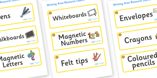 Marigold Themed Editable Writing Area Resource Labels - Themed writing resource labels, literacy area labels, writing area resources, Label template, Resource Label, Name Labels, Editable Labels, Drawer Labels, KS1 Labels, Foundation Labels, Foundati