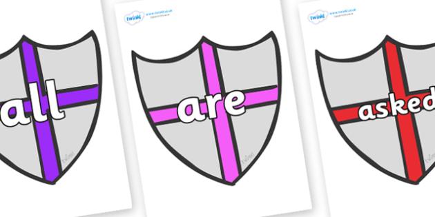 Tricky Words on Shields - Tricky words, DfES Letters and Sounds, Letters and sounds, display, words