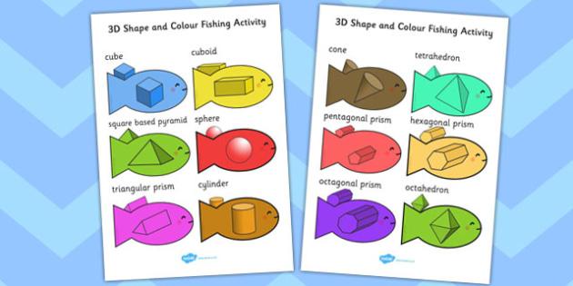 3D Shape and Colour Fishing Activity - shape, colour, activity
